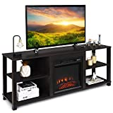 Tangkula 2-Tier TV Stand, Entertainment Television Stands, Modern Entertainment Centers with Adjustable Shelves, Suitable for 18' Electric Fireplace (Not Included)