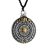 HZMAN Vintage Tibetan I Ching Spiritual Divination Om Stainless Steel Pendant Necklace Religion Jewelry