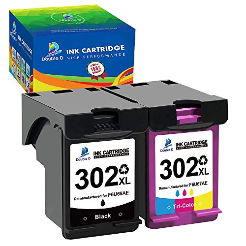 DOUBLE D Cartuchos de tinta remanufacturados 302XL para HP 302 302 XL para HP Officejet 3831 3830 5230 5220 DeskJet 3630 2130 3636 Envy 4520 4525 4522 (1 negro, 1 color)