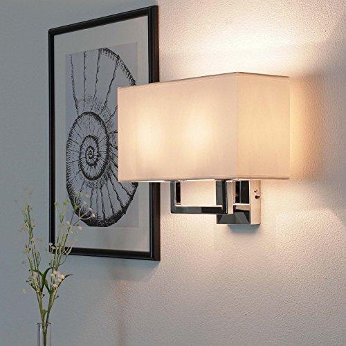 Wandleuchte modern chrom naturfarben 2-flammig E27 bis 60W 230V Stahl Stoff Wandlampe mit Schirm Schlafzimmer Licht Leselampe Wohnzimmer Leuchte Wand Esszimmer Beleuchtung