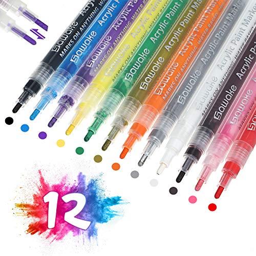 -30% Pennarelli a Vernice Acrilica per tutte le superfici, 12 Colori Impermeabili