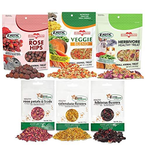 Exotic Nutrition Herbivore Treats 6 Pack - Healthy Assortment Small Animal Pet Treat - Squirrels, Guinea Pigs, Rabbits, Chinchillas, Prairie Dogs, Degus, Hamsters, Gerbils, Herbivores
