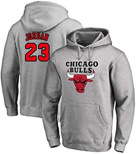 FMSports Unisex Pulloverhoodie - NBA Chicago Bulls # 23 Michael Jordan T-Shirt Hoodies-Mantel-Jacke Langarm Klassische Tops,Grau,XL~175~180CM