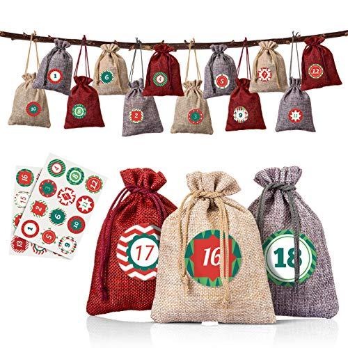 Naler Set di 24 Sacchetti di Lino per Bomboniere Natalizi Sacchetti di Calendario dell'Avvento Borse di 3 Colori + 24 Pezzi di Adesivi Sacchetti per Regalo, 10 X 14CM