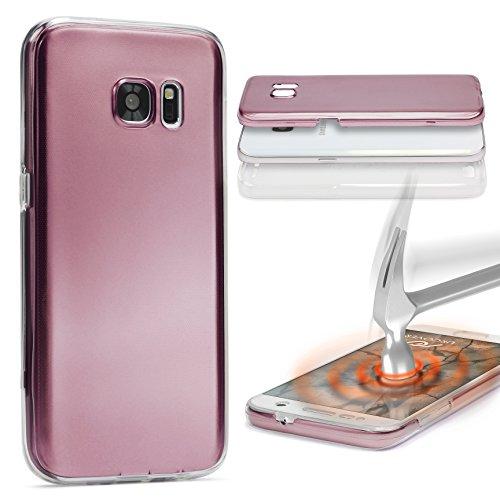 Urcover® Metalloptik 360 Grad Hülle kompatibel mit Samsung Galaxy A7 2015 | TPU in Rose Gold | Ultra Slim Zubehör Tasche Case Handy-Cover Schutz-Hülle Schale
