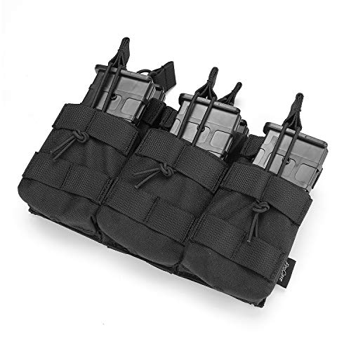 ProCase Open-Top Triple Stacker Mag Pouch, Tactical Magazine Pouch for M4 M14 G36 HK416 Magazines -Black
