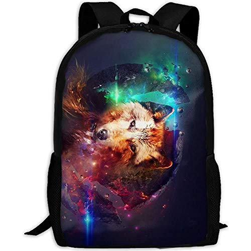 Galaxy Wolf Inside Fox Adult Travel Backpack School Casual Daypack Oxford Outdoor Laptop Bag College