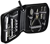 22-in-1 Tool Set with Tape Measure, Hammer, Flash Light, Pliers & Hand Multi-tool (Black)