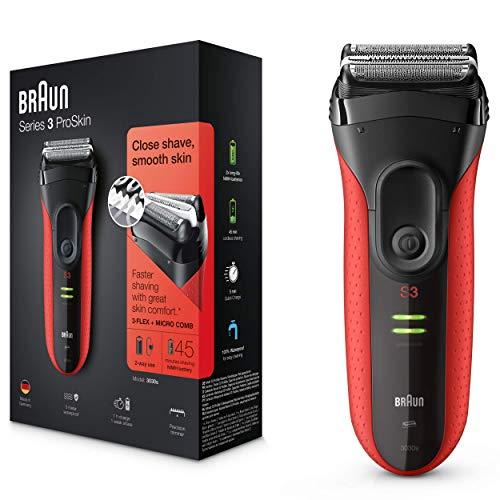 Braun Series 3 ProSkin 3030 S Afeitadora Eléctrica Hombre, para la Barba, con Recortadora de Precisión Extraíble, Recargable, Resistente al Agua, Negro/Rojo