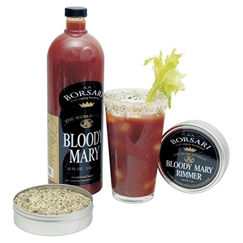 Borsari Gourmet Bloody Mary Mix - All Natural Sea Salt Rimmer Included - Light and Zesty Brunch Bloody Mary Mix