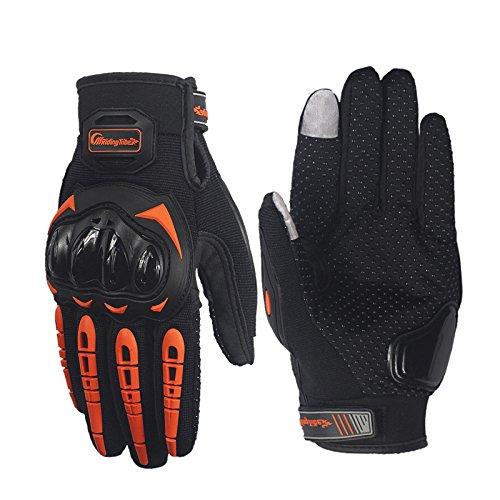 Pro-Biker - Guantes de protección para dedos de ciclismo (piel), Hombre, naranja, medium