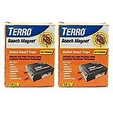 TERRO T256SR 2-Pack Pheromone Technology-24 Roach Magnet Exclusive Pheromone-24 Traps,Black