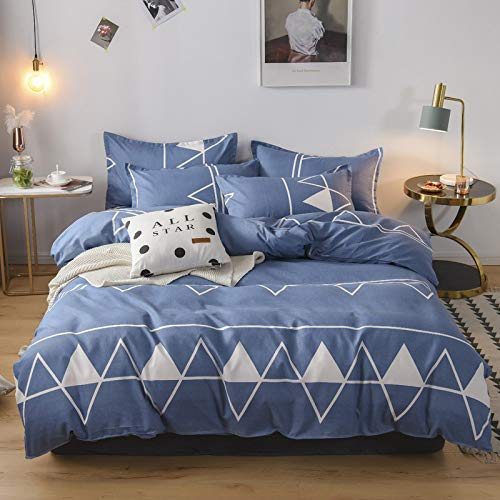 BH-JJSMGS Vierteilige Bettdecke aus Baumwolle, Bettwäsche, Leichter Bettbezug aus Mikrofaser, blaues Dreieck 200 * 230 cm