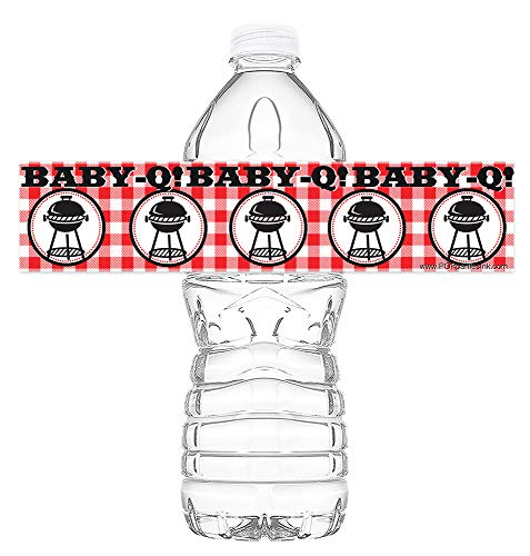 Baby Q Waterproof Bottle Labels - 20 Bottle Labels - Baby Q Party Decorations - Baby Q Party Supplies - Picnic Baby Shower Decorations - Bottle