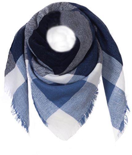 Fashion YOU WANT Damen XXL Schal kariert Karo Muter Quatro Deckenschal Scarf Bolero Tuch Poncho (dunkelblau/weiß/blau)