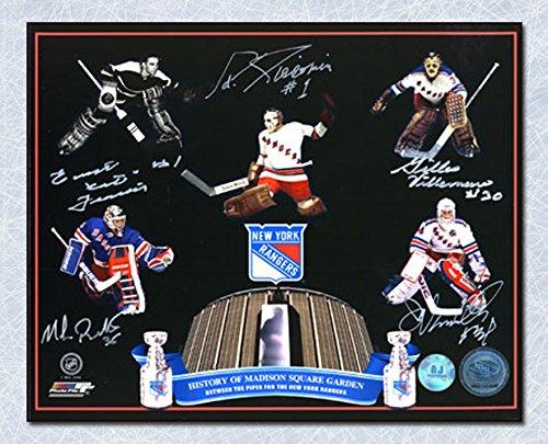 AJ Sports World NY Rangers Madison Square Gardens Autographed 5 Goalie Legends 16x20 Photo