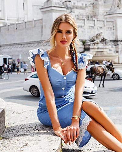 Vestido Vestido Elegante del Vendaje del Hombro sin Tirantes Amarillo Azul Elegante...