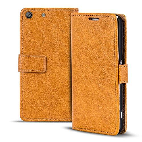 Conie RW38722 Retro Wallet Kompatibel mit Sony Xperia M5, Klapphülle Tasche Vintage Leder Design für Xperia M5 Etui mit Kartenfächer Gelbbraun