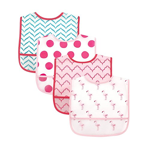 Luvable Friends Water Resistant Bibs with Crumb Catcher Pocket, Flamingo, 4 Count