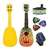 CLOUDMUSIC Ukulele Soprano Pineapple Ukulele Kit With Pineapple Ukulele Gig Bag Ukulele Picks Aquila Educational Strings Color Strings