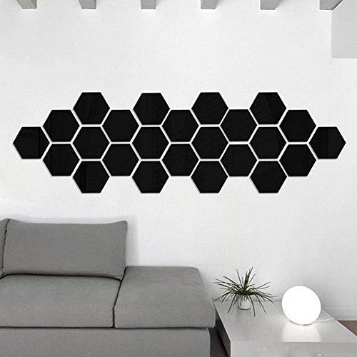 Zegeey 12 Stücke 3D Spiegel Hexagon Vinyl Abnehmbare Wandaufkleber Aufkleber Home Decor Art DIY