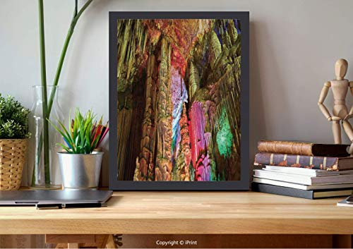 AmorFash №18749 Frame Art Wall,Natural Cave Decorations,Colorful Geological Cistern Rainwater Harvest with Luminous Reflections Picture,Multi, Best for Gifts