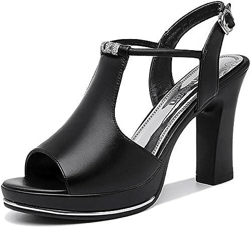 Jqdyl Talons Hauts Fish Mouth Talons Talons Hauts avec Summer New Fashion épais avec des Chaussures pour Femmes Summer Word Buckle Sandales Sandales  magasin en ligne