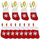 12 Piezas de Adornos navideños para la Mesa, decoración de la Cena, Calcetines, Porta Cubiertos, Adornos para árboles de Navidad, Medias navideñas, Bolsas navideñas para Cubiertos