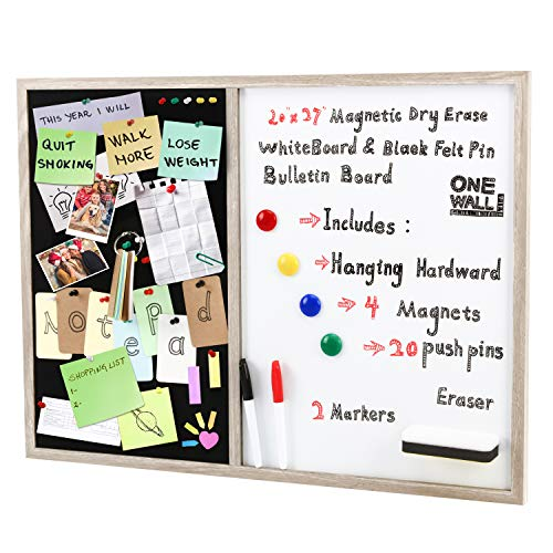 ONE WALL Combination Whiteboard Bulletin Board, 20 x 27 Inch Dry Erase Magnetic Whiteboard & Black Felt Pin Bulletin Board with Markers, Eraser, Magnets, Push Pins & Notepad for Office, School, Home
