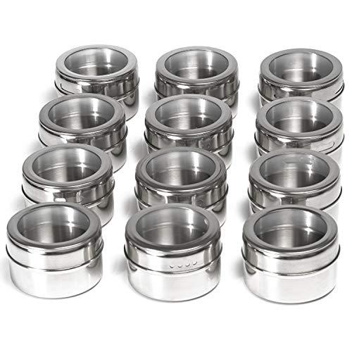 Yuning Especias de Cocina Tarro,12 Caja de condimentos, Frascos de Especias Magnéticas de Acero Inoxidable, Transparente Frascos de Especias Redondos, 130 Etiquetas de Especias