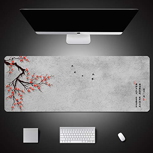 FNUGCT Large Gaming Mouse Pad XL Extended Mousepad Chinese Style Winter Plum Flower And Bird Pattern Office Desk Mat For Computers, Laptop & Home 27.5X11.8 Inch With Non-Slip Rubber Base, Premium-Text