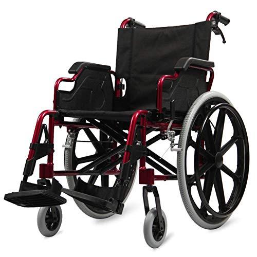 wheelchair Medizinischer Reha-Stuhl, Rollstuhl, leichter zusammenklappbarer Rollstuhl, der medizinisch fährt, Rollstuhl aus Aluminiumlegierung Ältere tragbare Reisen Übergewichtige ältere Menschen Mu