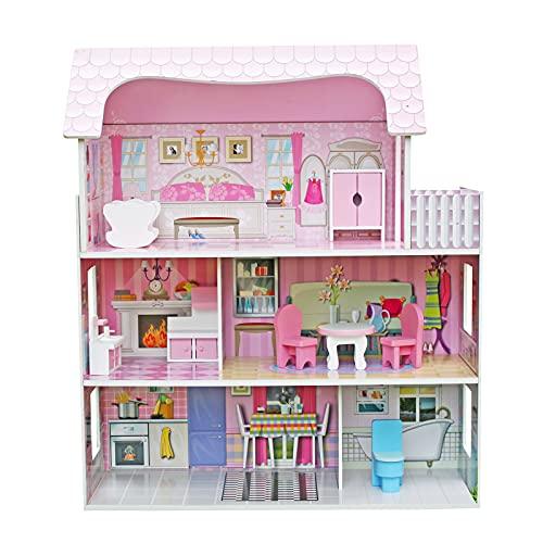 Casa de Muñecas Infantil de Madera Alba Outdoor Toys 62x27x70 cm con Luces LED y 8 Muebles