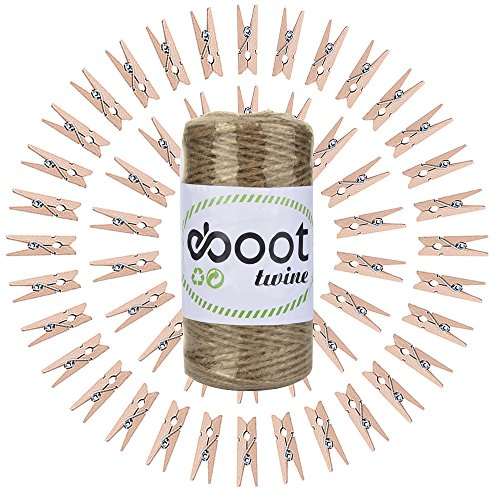 EBOOT 300 Feet Natural Jute Twine Crafting Twine String with Wooden Clothespins Photo Paper Peg Pin Craft Clips for Craft Projects, Gift Wrapping, Photo Display, Packing, Gardening DIY Decoration