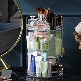 Toloryon Organizador de Maquillaje Giratorio 360°, Almacenamiento cosmético Ajustable, Exhibición Cosmético se Adapta a Joyas, Pinceles de Maquillaje, lápices labiales y cremas(Transparente)
