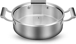 Acero inoxidable Estofar Pot superficial cazuela, engrosamiento de la olla para el gas y la inducción, Universal Domésticos de Cocina Utensilios Hotpot,30cm