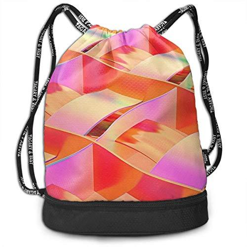 iqishengma Gymsack Kordelzug Tasche Sackpack Sport Cinch Pack Einfache Bundle Pocke Rucksack für Männer Frauen Kunstdruckpapier Red Rainbow