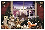 Westernranch - Set di 2 tovagliette all'americana 'Merry Christmas', motivo: pupazzo di neve, archi luminosi, palline di Natale, tovagliette, lavabili, sottobicchieri