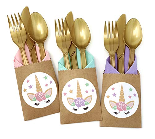 Unicorn Birthday Party Cutlery Bags with Plastic Utensil and Napkins (24 Count)