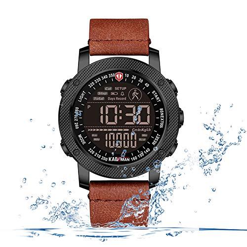 F-XDD Arbeiten mechanische Uhr, Multi-Funktions-Sport-Uhr-Multi-Funktions-Outdoor Sports wasserdichte Schrittzähler Elektronische Uhr der Männer Ideal für Geschäftsleute,Lightbrown