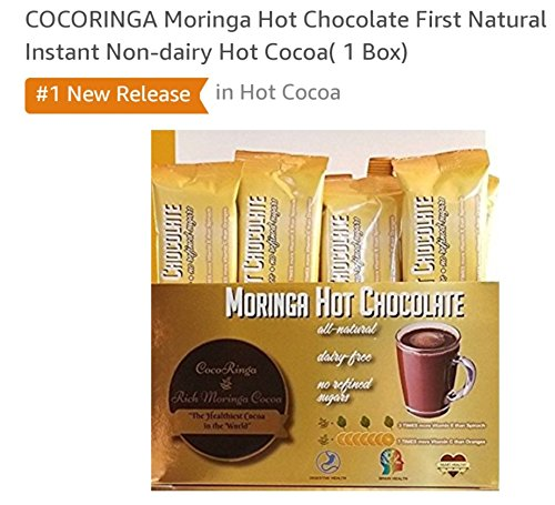 COCORINGA Moringa Cacao Hot Chocolate First Natural Instant Non-dairy Hot Cocoa(1 Box)