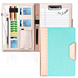 WWW Portfolio Case/Portfolio Folder, Interview/Legal Document Organizer with Business Card Holders, Letter-Sized Clipboard and Document Sleeve for Office and Interview Mint Green