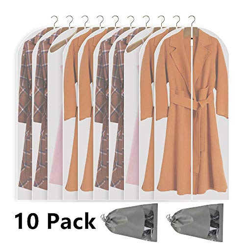 Perber Hanging Garment Bag Lightweight Clear Full Zipper Suit Bags (Set of 10) PEVA Moth-Proof Breathable Dust Cover for Closet Clothes Storage - 24''...