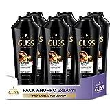 Gliss - Champú para pelo muy dañado - Ultimate Repair - 6uds de 370ml (2.220ml) – Gama ultra reparación