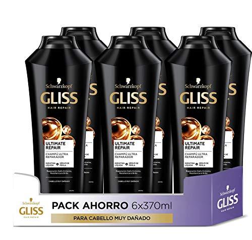 GLISS - Champú Ultimate Repair - 6uds de 370ml (2.220ml) – Para cabello muy dañado – Gama ultra reparación