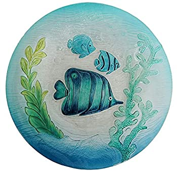 Comfy Hour Bird Meets Garden Bath Collection Metal Art Fish Sea-Weed Glass Top Birdbath Birdfeeder Garden Décor