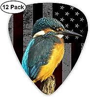 鳥とアメリカの旗 エレクトリックギターアコースティックギターマンドリンとベース用のクラシックギターピックセット(12パック) One Size