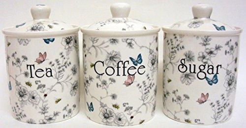 Secret Garden Tea Coffee azúcar de porcelana fina tarros con tapa decorada a mano en el Reino Unido de flores mariposas y abejas.