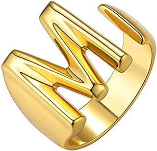 خاتم Junxin A-Z الرص الأولي للنساء، خاتم مفتوح قابل للتعديل بالحرف الأولي، 26 خواتم الحروف الأبجدية 14 ك الذهب هدية عيد ال...
