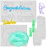 Package includes: you will receive 3 different shapes of happy birthday silicone molds, looks adorable and delicate in appearance, easily decorate your various desserts and make it appetizing Durable and safe: these cake fondant molds are made of sil...